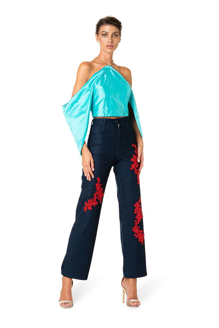 Jeans-ricamati-blusa-taffeta-donna-federico-pilia-milano